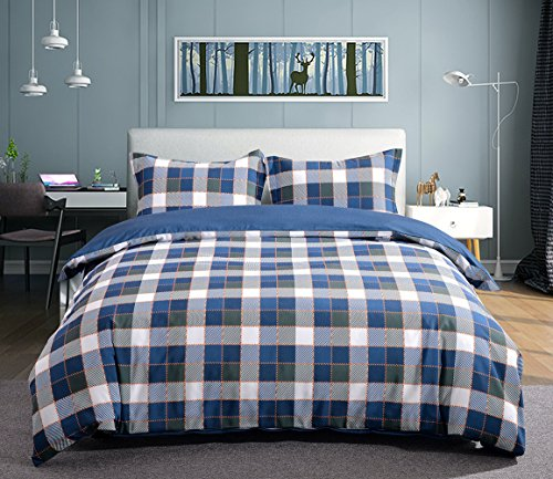 Whitney Home Textile Bamboo Derived Rayon & Microfiber Duvet Cover 3 Pieces Set - Hypoallergenic Breathable Comforter Case - Quilt Cover with Zipper Closure Corner Ties, Plaid - Whitney Bamboo Design