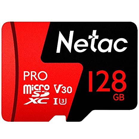 128GB Micro SD Memory Card - Netac P500 PRO V30 UHS-I U3 High Speed MicroSDXC TF Card with Adapter