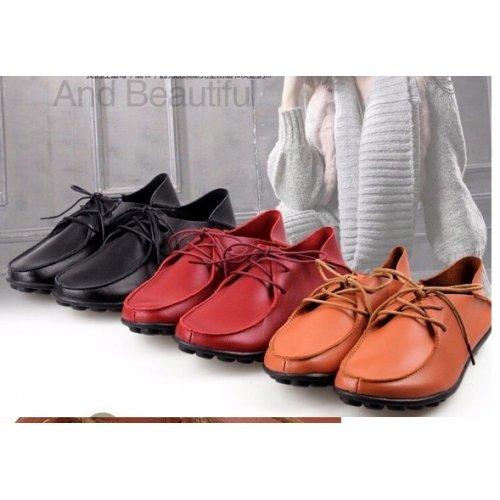 Mocassin femme en cuir, chaussures femme à lacets, chaussures femme en cuir veritable, mocassin femme tendance mode 2015 - rouge, 37