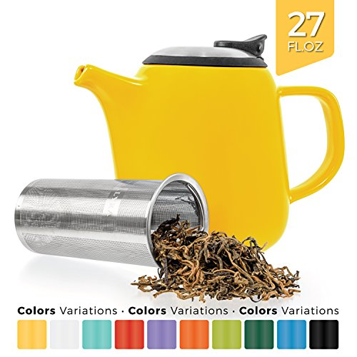 Tealyra - Daze Ceramic Teapot Yellow - 27-ounce (2-3 cups) - Small Stylish Ceramic Teapot with Stainless Steel Lid Extra-Fine Infuser To Brew Loose Leaf Tea