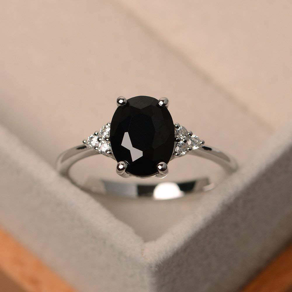 bridal ring black gemstone engagement ring pear cut gemstone sterling silver Natural black spinel ring