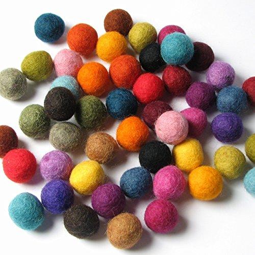 50 Hand-felted Wool Felt Balls 2 CM Multi Color Mix Handbehg Felts Fiber Crafts