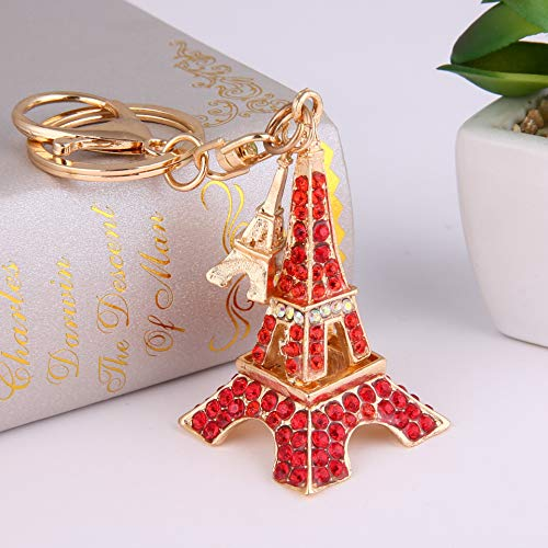 (JewelBeauty 3D Cubic French Paris Eiffel Tower Shaped Bling Bling Metal Crystal Rhinestone Keychain Souvenir Holiday Gift Car Phone Purse Bag Decoration (Red))
