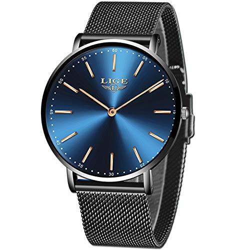 LIGE Mens Watches Black Slim Stainless Steel Watch Fashion Simple Watch for Men Business Dress Analogue Quartz Wrist…