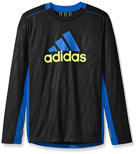 adidas Boys Performance Logo Long Sleeve Tee Shirt, Black, M (10/12)