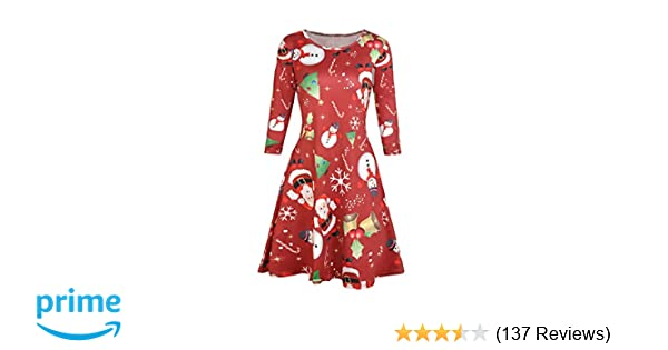 a9be5bf26d Dongpai Women s Ugly Christmas Santa Claus Print Party Dress Casual Holiday  Long Sleeve A Line Dress at Amazon Women s Clothing store