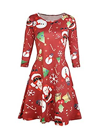 96b6f42b3d Dongpai Women s Ugly Christmas Santa Claus Print Party Dress Casual ...