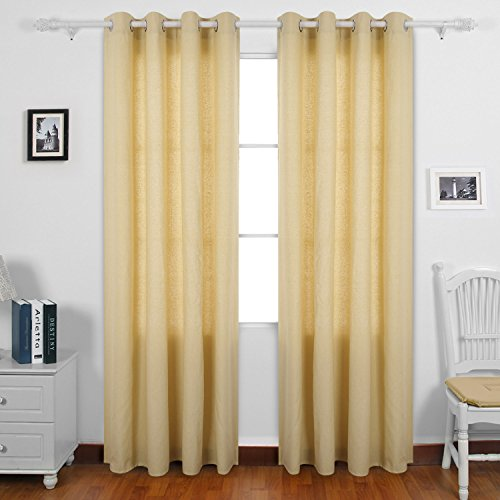 Deconovo Grommet Curtains Recycled Cotton Curtains for Boys 52 W x 63 L Flax One Pair