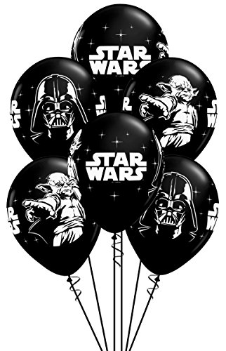 Star Wars Party Supplies Clearance (Qualatex Star Wars Biodegradable Latex Balloons Onyx Black with White Prints All-Around of Darth Vader and Yoda, 11-Inch Round)
