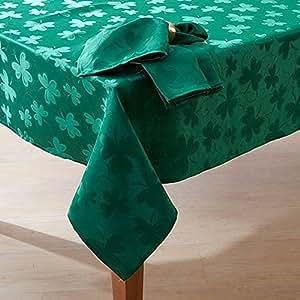 "Emerald Isle St Patricks Day Shamrock Tablecloth 52"" x 70"""