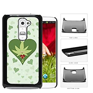 Weed Leaf Valentine And Green Hearts Hard Plastic Snap On Cell Phone Case LG G2 by supermalls