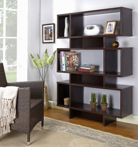 Kings Brand Furniture Espresso Finish Wood Cube Bookcase Display Cabinet ()