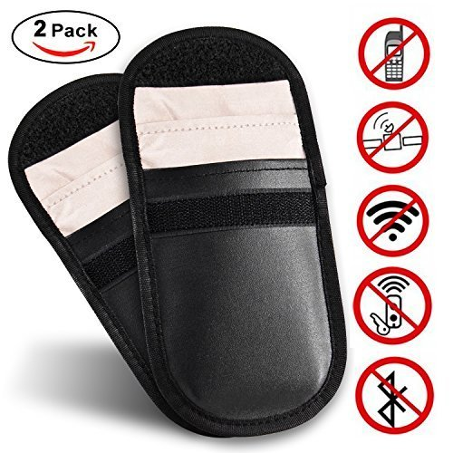 Car Keyless Signal Blocker Case Entry Fob Guard Blocking Pouch Bag Defend WIFI/GSM/LTE/NFC/RF Remotes Control Antitheft Lock Devices Shielding Healthy Cell Phone Credit Card Protection