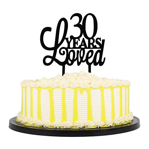 PALASASA 30 Years loved Cake Topper - Happy 30th Birthday - Wedding Anniversary Party -