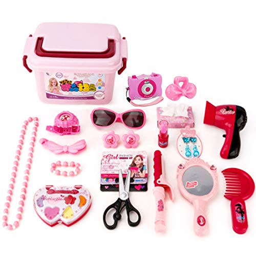 WOLFBUSH 23Pcs Girls Pretend Play Makeup Vanity Case Dress-up Make up Toy Kit for Girls Cosmetic Toy Set with Camera, Flower Clip, Mirror, Hair Dryer and More