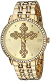 eWatchFactory Men's 'EW Cross Religious' Quartz Metal and Stainless Steel Casual Watch, Color Gold-Toned (Model: PW00208)