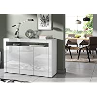 Concept Muebles CALIPSO Sideboard - ALL SIDE HIGH-GLOSS cupboard in brilliant arctic white color (3-doors)
