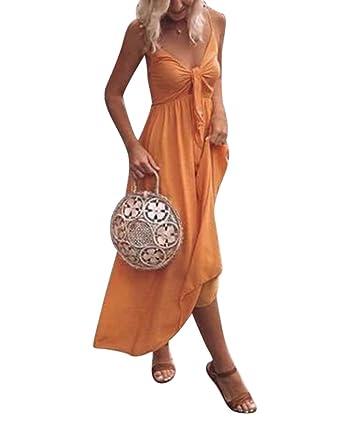 d29845dc921d Damen V Ausschnitt Kleid Träger kleider Sommerkleider Strandkleider  Cocktailkleid Partykleid  Amazon.de  Bekleidung