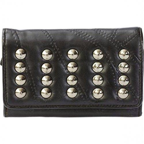 Italian Stone Design Genuine Lambskin Leather Wallet with Studs - ()
