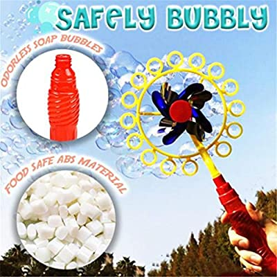YLing Bubble Machine, 2-in-1 Magic Bubble Stick Windmill Bubble Wand Toy for Kids Children, Outdoor Bubble Wands Toys Set, Bubble Maker for Party Wedding Photography (Multicolor - 2PCS): Toys & Games