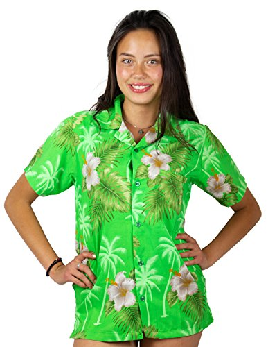 (V.H.O. Funky Hawaiian Blouse Shirt, Small Flower, Green, XL)