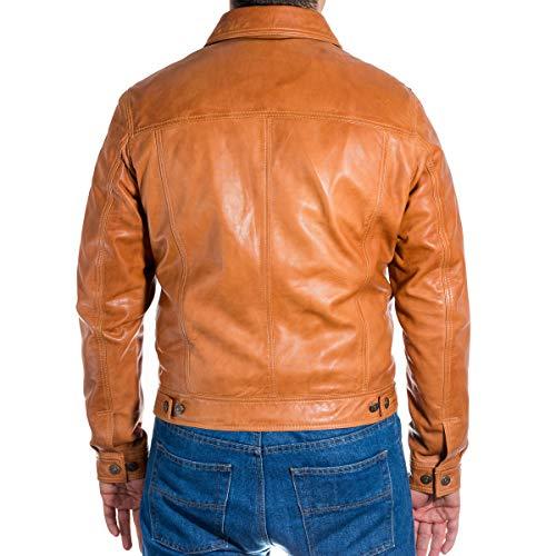 para ajustable camionero estilo estilo Casual Chaqueta 100 gamuza en hombres cuero beige o Disponible cuero acabado Western x5UYXwxq