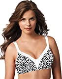 Playtex Women's 18 Hour Sensational Sleek Wirefree Full Coverage Bra #4803, White Leopard Print, 40C