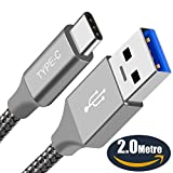 USB-C Cable, BrexLink USB A to USB C 3.0 (6.6ft) Nylon Braided USB C Fast Charger for Nintendo Switch, Google Pixel, LG V30 G6,G5, Oneplus 5, Macbook, Samsung Galaxy Note 8, S8, S8 plus (Grey)
