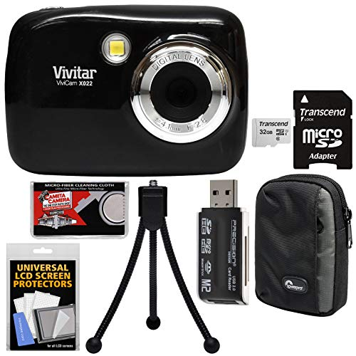 Vivitar ViviCam VX022 Digital Camera (Black) with 32GB Card + Case + Tripod + Kit