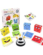 QIUXQIU Wooden Expressions Matching Block Puzzles with Bell Cute Face-Changing Cube Building Blocks Parent-Child Board Games for 3+ Years Kids New (64 Cards)