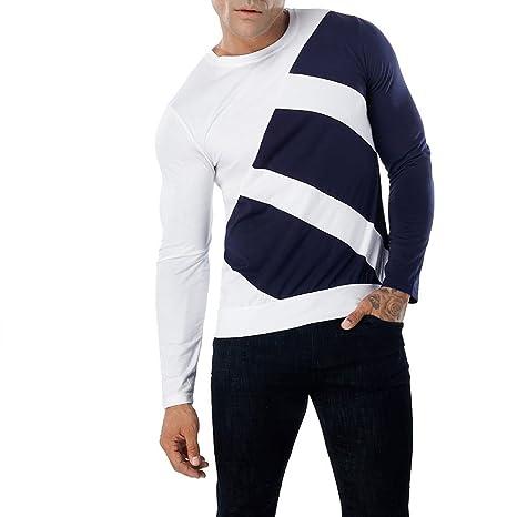 La Blusa Superior Delgada de Manga Larga de la Camiseta del Remiendo Ocasional de los Hombres de la Moda Blusa: Amazon.es: Ropa y accesorios