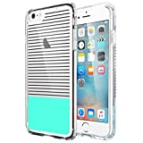 iPhone 6 Plus Case,iPhone 6s Plus Case,ULAK [Clear Slim] Soft Bumper Case with Hard Clear Back Panel Cover for Apple iPhone 6 Plus/6s Plus 5.5 Inch,Minimal Mint Stripes