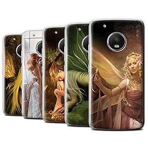 Official Elena Dudina Gel TPU Phone Case / Cover for Motorola Moto G5 Plus / Pack 10pcs Design / Elegant Fairies Collection