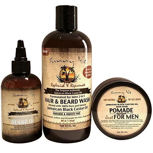 Sunny Isle JBCO 2-N-1 Hair & Beard Wash Formulated for Men 12oz with Beard Oil and Pomade 4oz Set