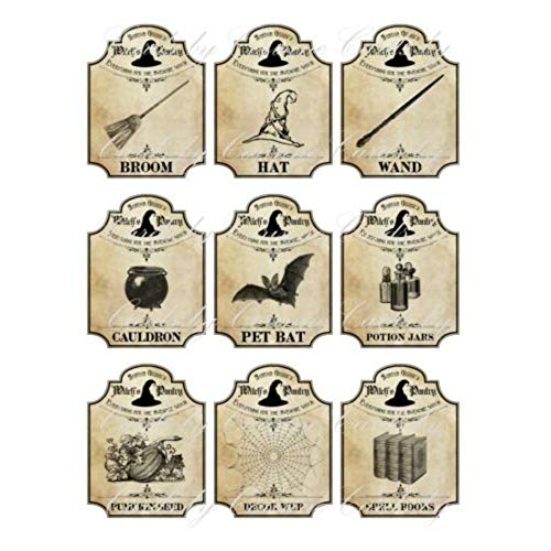 9 Halloween Apothecary Bottle jar Labels Potion Witch Pantry G4 -