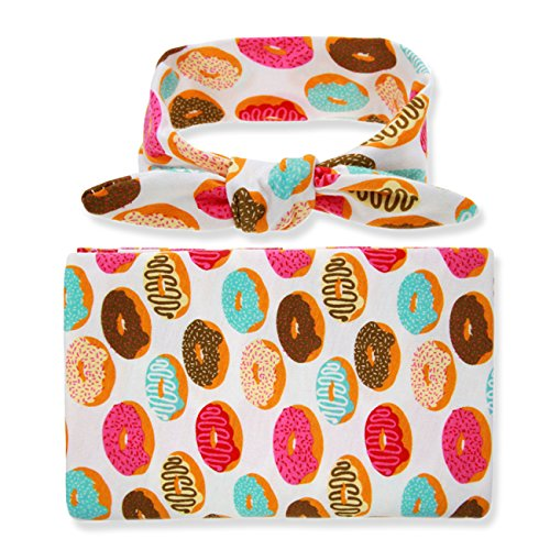 - Newborn Floral Swaddle BQUBO Receiving Blanket with Headbands Hats Sleepsack Toddler Warm Baby Shower Gift(Pack 1, 3) (Doughnut with Headbands)