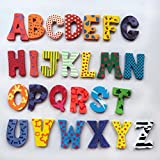 mini fridge wood cover - Yeefant 26pcs Wooden Cartoon Alphabet A-Z Magnetic Collage Animals Magnets Fridge Sticker Refrigerator for Child Adult Toddlers