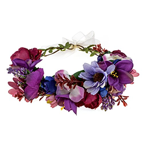 Flower Head Wreath - DreamLily Maternity Woodland Photo Shoot Peony Flower Crown Hair Wreath Wedding Headband BC44 (Style 1 Dark Purple)