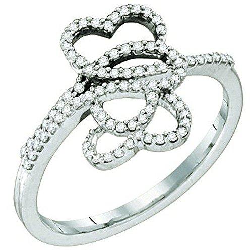 Pave Diamond Right Hand Ring - 0.20 Carat (ctw) 10K White Gold Round White Diamond Ladies Micro Pave Right Hand Ring 1/5 CT