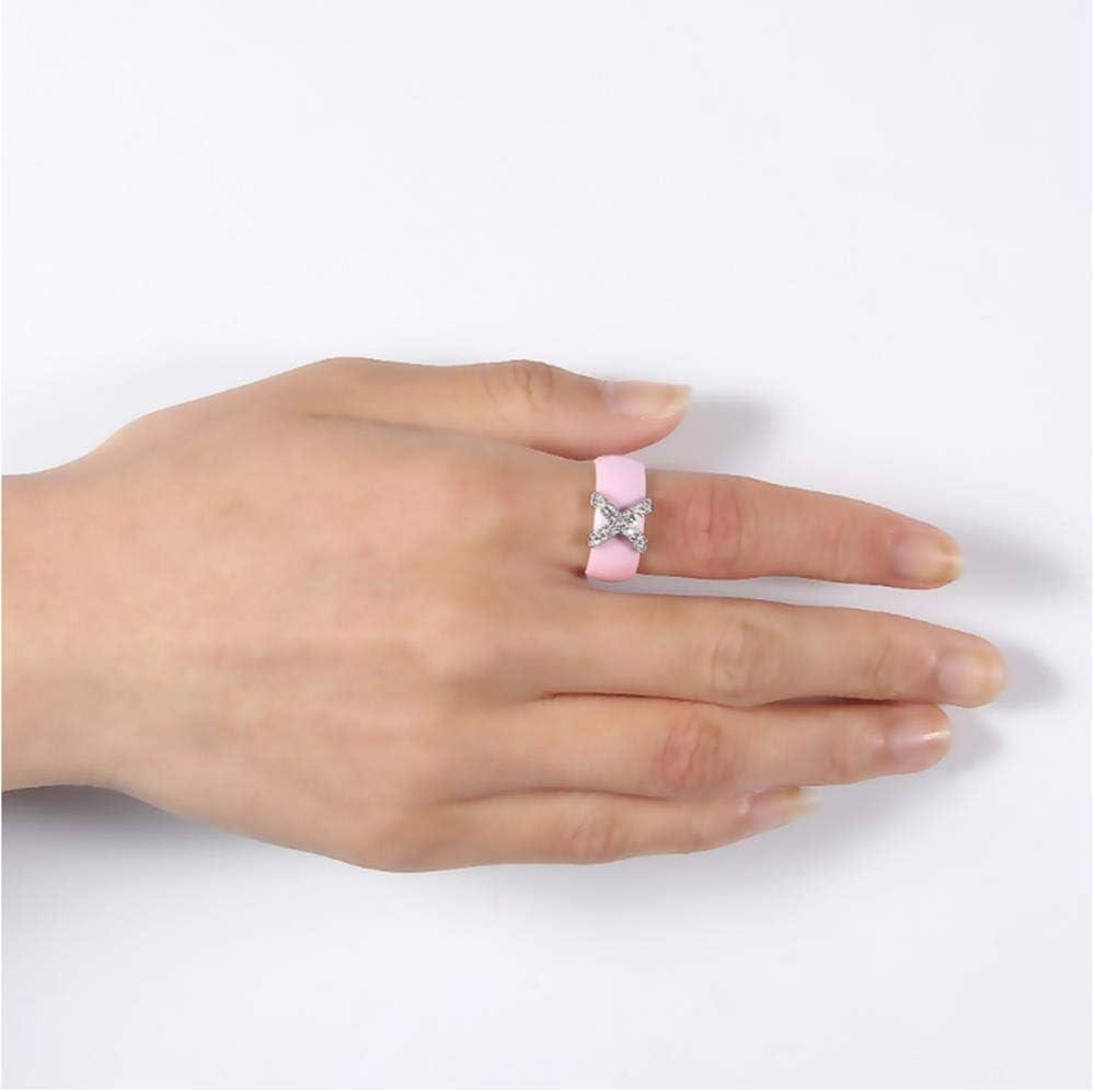 LMK Joyería Brillante Cristal X Cruz Anillo de cerámica Elegante Dama Accesorios de Boda Regalo