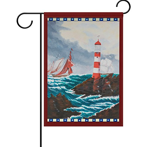 Colorful Lighthouse Sailboat Sea Reef Rock Double Sided Garden Yard Flag 12
