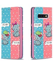Miagon Wallet Folio Flip PU Leather Case for Samsung Galaxy S10 Plus,Creative Painted Design Full-Body Protective Cover Card Holder Kickstand Magnetic,Elephant
