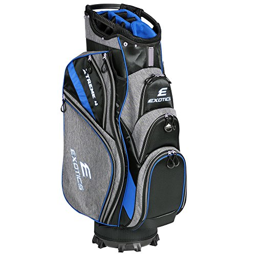 Tour Edge Exotics Extreme 4 Cart Bag 2018 Gray Scratch Plaid/Blue by Tour Edge