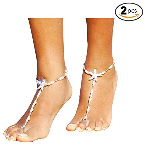 VITORIA'S GIFT Women Beach Barefoot Sandal Foot Pearl Jewelry Anklet Chain Tassel from VITORIA'S GIFT