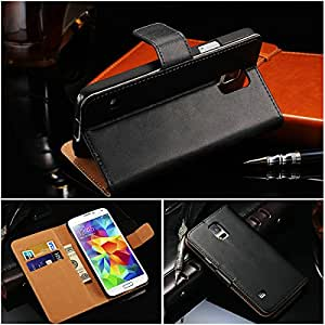300 Pcs/lot DHL Wallet Book Style Genuine Leather Case For Samsung Galaxy S5 I9600 Stand Phone Bag 10 Colors Wholesale In Stock --- Color:white