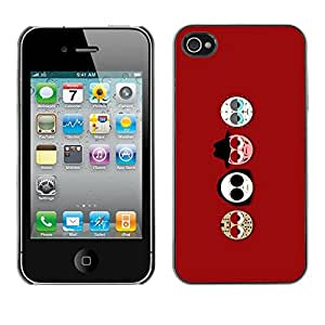 LECELL -- Funda protectora / Cubierta / Piel For Apple iPhone 4 / 4S -- Funny Horror Movie Masks --