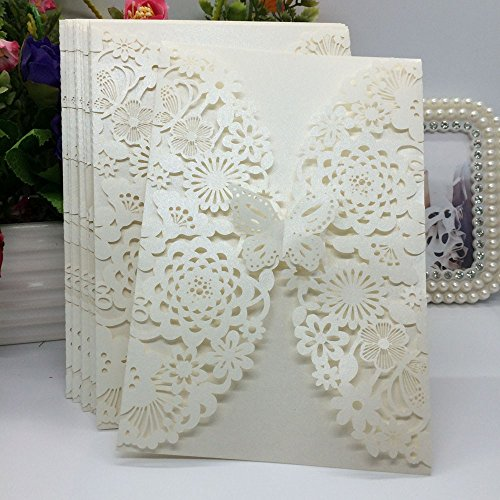 (20Pcs/pack Carved Flower Butterfly Pattern Wedding Invitation Card Exquisite Hollow Out Romantic Cards Wedding Favor Party Supplies Decoration (Beige))