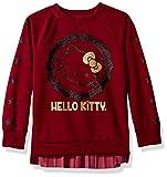 Hello Kitty Big Girls' Sweatshirt with Glitter Artwork and Pleated Velvet, Maroon, 7