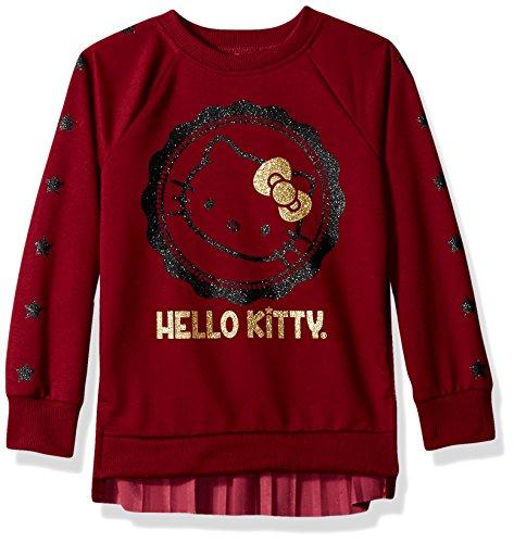 Hello Kitty Big Girls' Sweatshirt With Glitter Artwork and Pleated Velvet, Maroon, 10