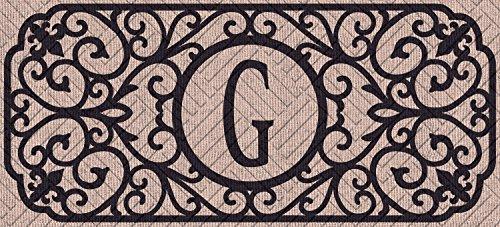 Enterprises Spring Evergreen - Evergreen Filigree Monogram Embossed, Letter G Decorative Floor Mat Insert, 10 x 22 inches